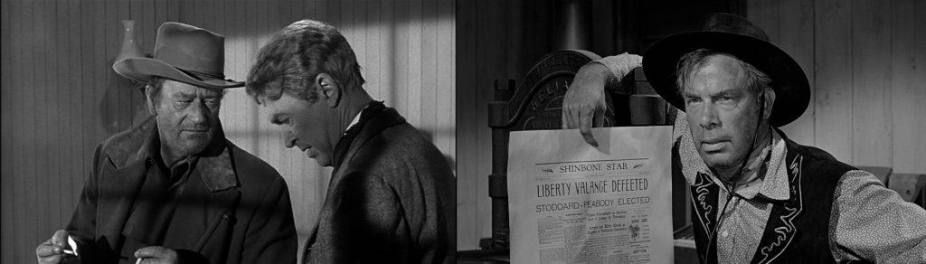"""Ο Τζων Γουαίν, ο Τζέημς Στιούαρτ και ο Λη Μάρβιν στην ταινία """"Ο άνθρωπος που σκότωσε τον Λίμπερτυ Βάλανς"""" [1962], του Τζων Φορντ"""