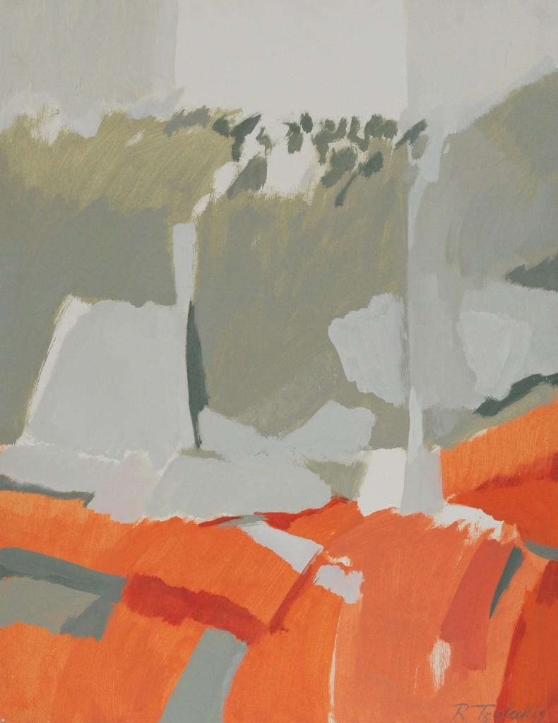 06-Rena-TZOLAKIS-Le-chemin-rouge-Acrylique-sur-papier-marouflé-sur-toile-52X-65-Photo-Georges-BIJOURAS