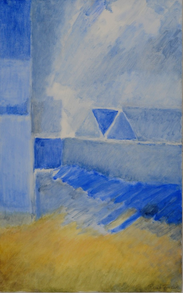 10-Rena-TZOLAKIS-Bleu-blanc-...jaune-Huile-sur-toile-115X73-Photo-Georges-BIJOURAS
