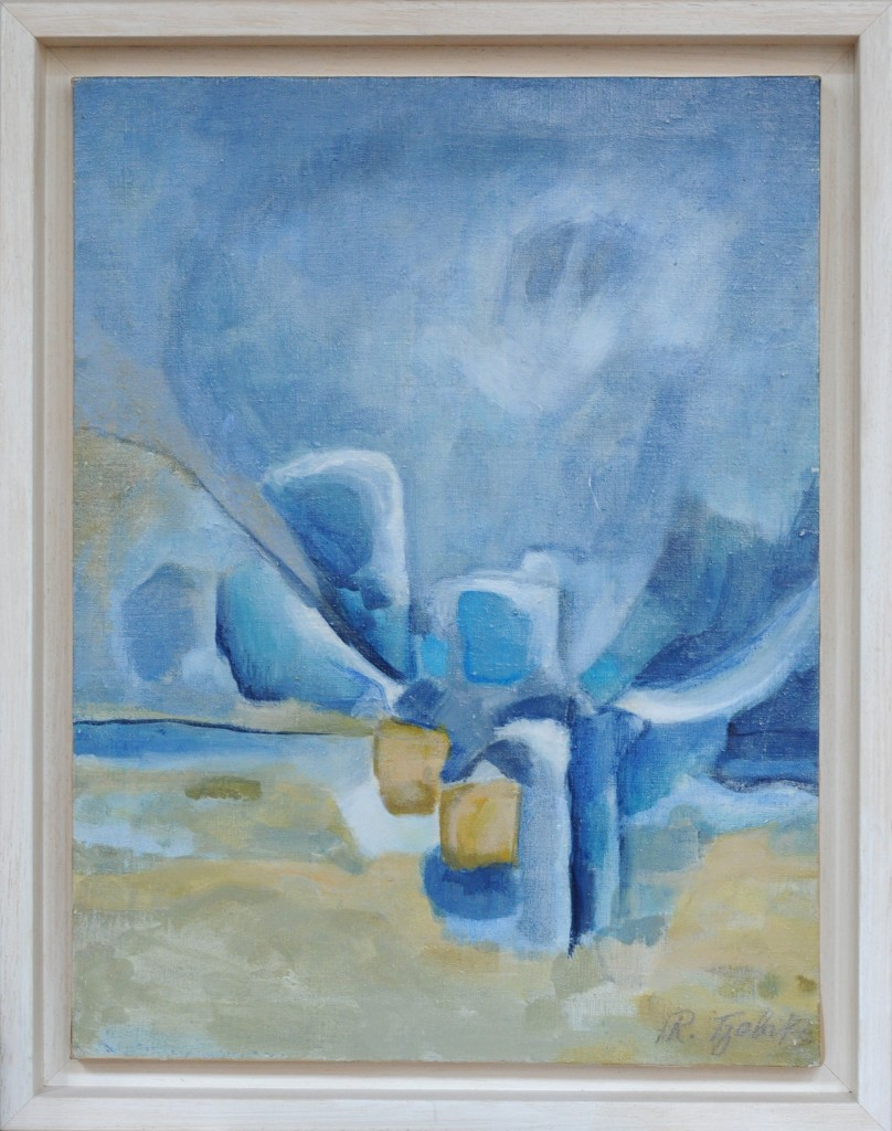 13-Rena-TZOLAKIS- Harmonie-en-Bleu-Huile-sur-toile-32X42-Photo-Georges-BIJOURAS