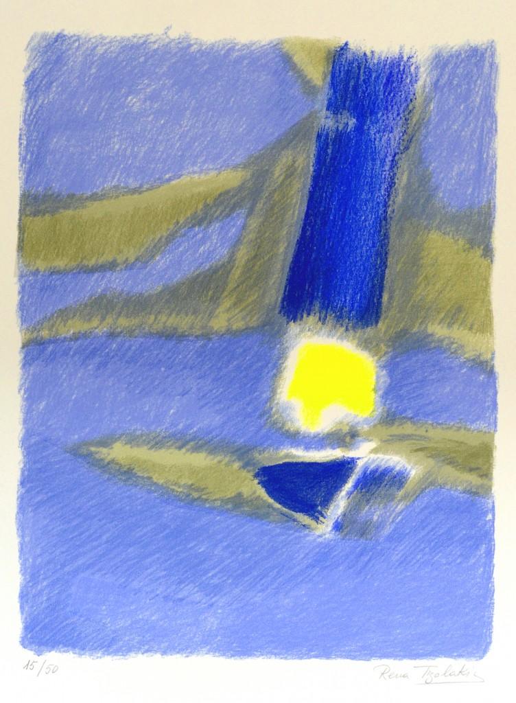 21-Rena-TZOLAKIS-Le-bleu-Serigraphie[a-la-main]-56X76-Photo-Georges-BIJOURAS