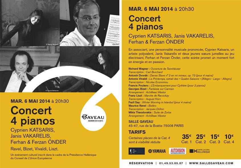 Κονσέρτο με 4 πιάνα, 6 Μαΐου 2014. Αίθουσα Gaveau.