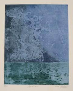 Rena Tzolakis, Aquatiques, Gravure sur metal en couleurs, 39,5X49,5